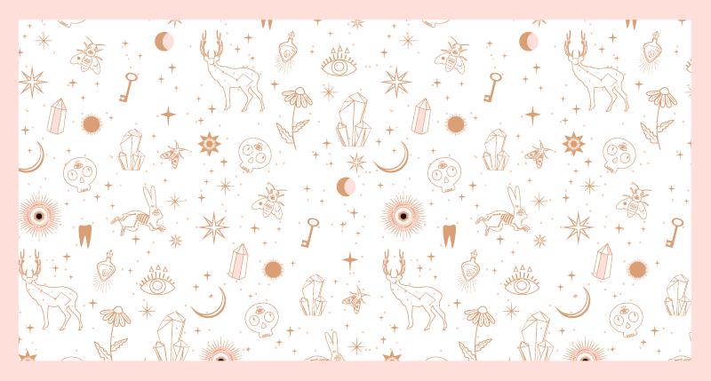 TenStickers. Dywan winylowy dla dzieci jelenie i gwiazdy. Dywan winylowy ze wzorem zwierzęcym, w wzór małych jeleni, gwiazd, księżyca, kluczy, diamentów i wielu innych! Wymiary na zamówienie.