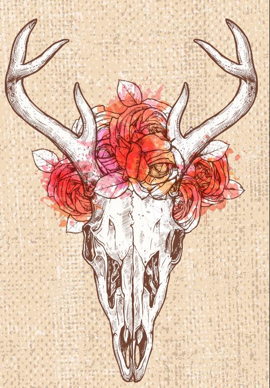 TenStickers. Dywan winylowy Abstrakcyjna czaszka jelenia . Dywanik winylowy ideany do jadalni lub salonu. Abstrakcyjna czaszka jelenia z kwiatami przy rogach. Oryginalny i bardzo modny!