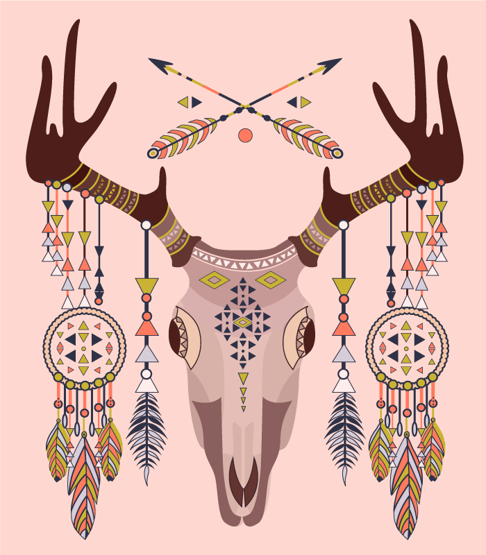 TENSTICKERS. 部族のクワガタの頭蓋骨のビニールマット. 部族のビーズとドリームキャッチャーで飾られたクワガタの頭蓋骨の素晴らしいイメージを特徴とするクワガタのビニールの敷物。高品質。