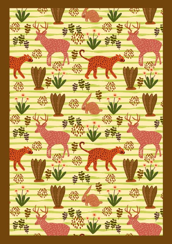 TenStickers. Tapete de vinil com estampa de veado verde. Tapete de vinil de animais que apresenta um padrão incrível de animais, incluindo veados, coelhos e onças rodeadas por plantas.