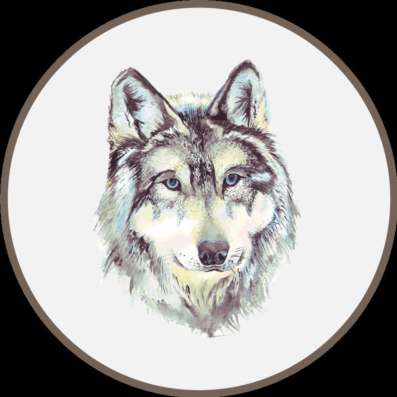TenStickers. Tapete de animal lobo aquarela. Tenha este tapete de vinil animal em seus braços em questão de dias! produtomuito original de um lobo realista. Obtenha hoje!