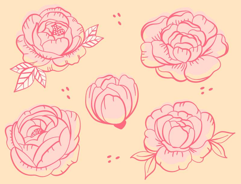 TenStickers. Peônia rosa esboços flor tapete. O perfeito, único e muito interessante presente de tapete de vinil floral para você, um amigo ou um membro da família! Peça agora!