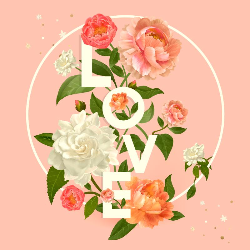 TenStickers. Tapete de flores com texto de amor peônia. Todos os seus amigos e familiares ficarão impressionados com o seu novo produtode tapete de vinil de amor! Pode ser facilmente limpo e lavado!