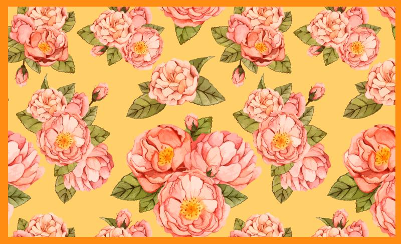 TenStickers. Tapete de vinil flor com fundo amarelo peônia. Tapete floral com fundo amarelo peônia - se você precisa de algo colorido com flores, então este produtode tapete é a sua escolha. Produzido com vinil de qualidade.