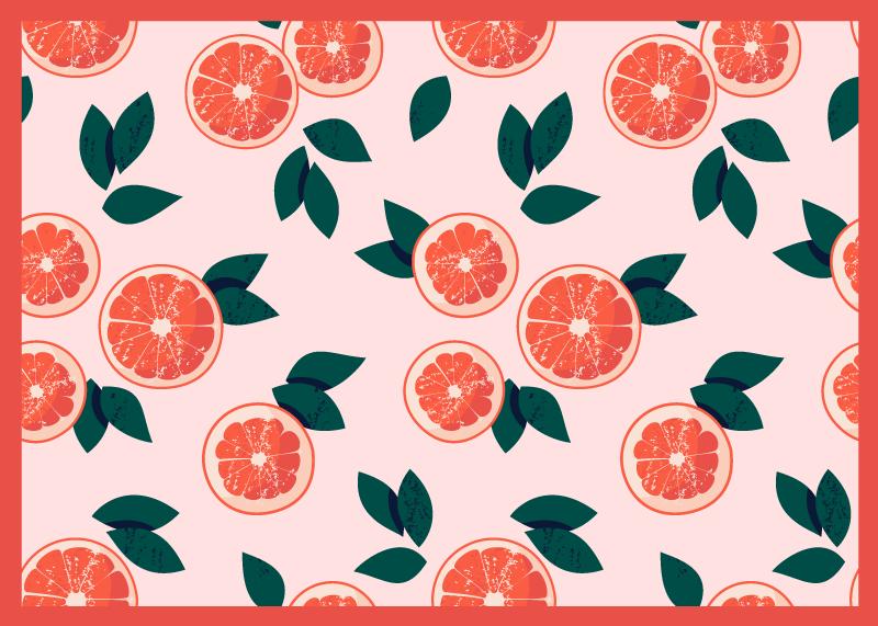TenStickers. Piso de cozinha com padrão de toranja. Aqui oferecemos uma grande solução: nosso fantástico tapete em vinil retangular de juta. Este projeto tornará sua cozinha um pouco mais original.
