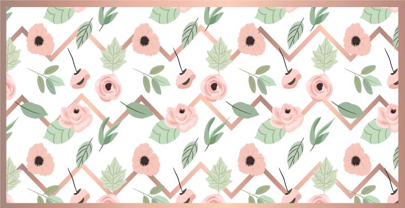 TenStickers. 花卉之字形zaks厨房地板. 一种非常独特且凉爽的装饰花乙烯基地毯产品,将真正为您的家居增光!现在就在您家中!