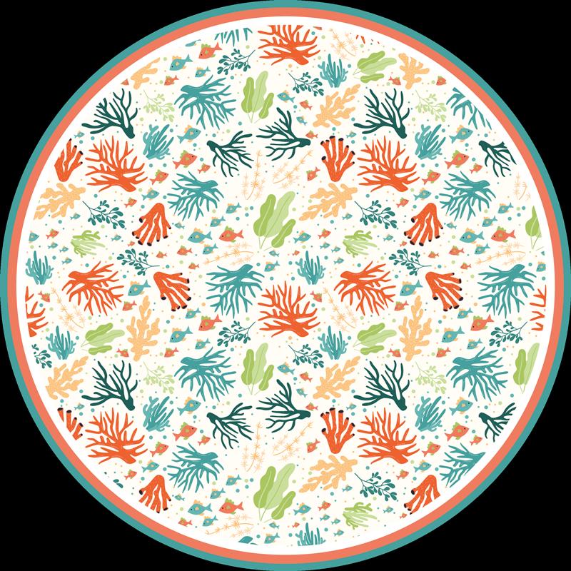 TenVinilo. Alfombra vinilo animal coral colorido. ¡Alfombra vinilo animal con patrón de coral para decorar cualquier lugar en su dormitorio, salón o baño en casa! ¡Envío exprés!
