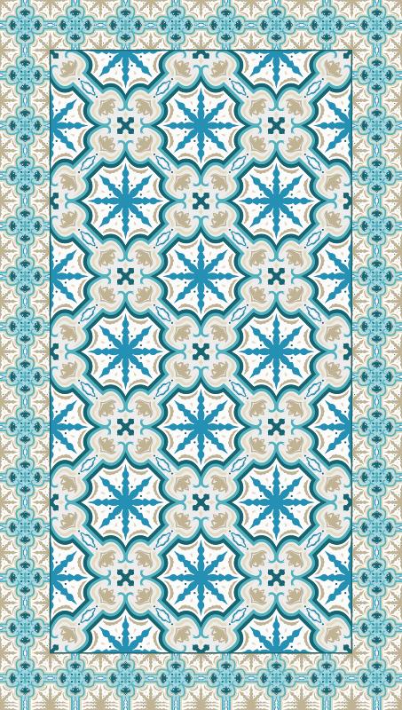 TenStickers. Tapete retro beija azul e marrom. Incrível tapete em pvc vintage azul e marrom beija feito de materiais de alta qualidade, antiderrapante, antialérgico, muito fácil de aplicar. Compre agora! Entrega ao domicílio!