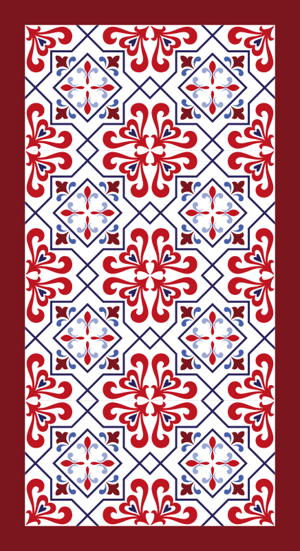 TenStickers. Red and Blue Beija tile mat. You would be bringing  a touch of an all time classic beauty on your floor space with this elegant red and blue beija royal tile pattern floor mat.