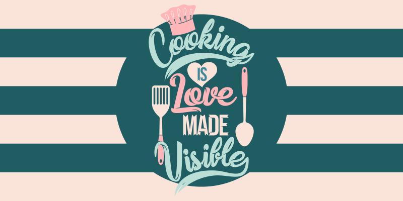 TenStickers. Cozinhar é amor tornado visível piso de cozinha. Nosso incrível tapete de cozinha é apresentado com um texto que permite que todos entendam nossa maior paixão: cozinhar. Fácil de limpar!