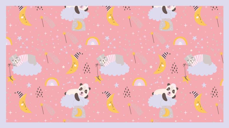 TenStickers. Fundo rosa com tapete de vinil pandas kids. Um tapete de chão de crianças de fundo rosa com desenhos estrelados e ilustrações de desenhos animados de animais. Adequado para quarto de criança e outros espaços.