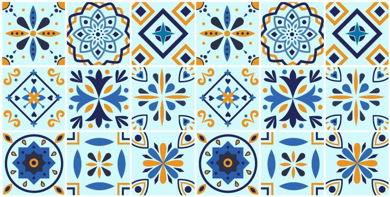 TenVinilo. Alfombra vinílica hidráulica mosaico azulejos. Dale color a tu cocina con esta alfombra vinílica hidráulica con azulejos en tonos azules. Estilo portugués ideal para tu hogar ¡Envío exprés!