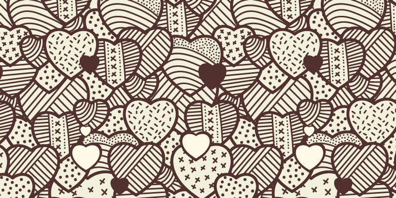 TenStickers. Yatak odası için doku genç kilim ile kalpler. Evinizi dekore etmeniz için ideal, kahverengi renkli dokulu ve beyaz arka planlı birçok kalp desenli dikdörtgen halı.