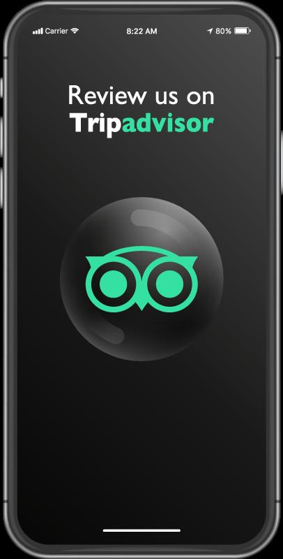 TENSTICKERS. トリップアドバイザーのオーダーメイドのラグをレビューしてください. 美しいビジネスとオフィスフロアのビニールカーペット、電話の形のデザインと「トリップアドバイザーのレビュー」を示す画面ページ。