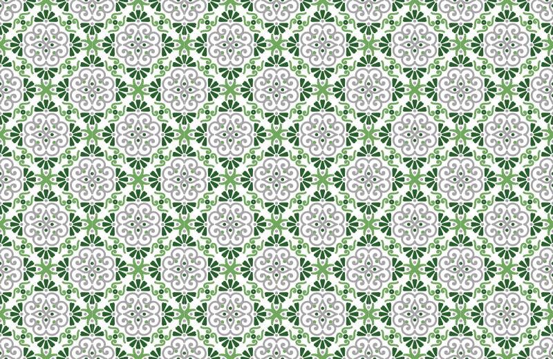 TenStickers. Pavimentos de cozinha de flores verdes portuguesas. Este tapete de vinil de flores é a compra perfeita que temos certeza que você vai adorar! Entrega mundial para este produtolegal hoje!