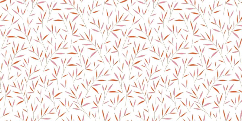 TenStickers. 中国森林自然地毯. 中国森林设计的自然垫,带有白色背景和橙色插图,非常适合您在客厅,餐厅或卧室中的位置