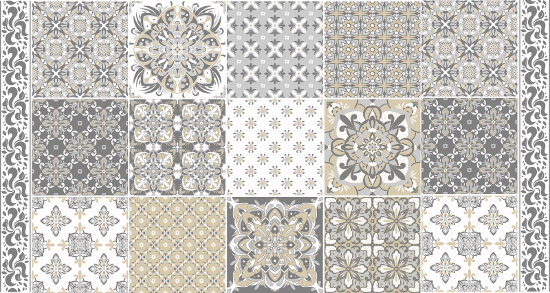 TenStickers. Vintage tiles pattern tile mat. Vintage vinyl flooring with vintage tile design with classic style to maintain an elegant, classic and exclusive atmosphere in your kitchen or house.