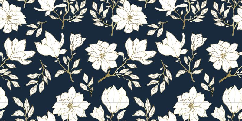 TenStickers. Flores brancas padrão tapete natural. Tapete natural em azul marinho com lindas flores grandes e brancas, ideal para você posicionar na sua sala de estar, sala de jantar, quarto.
