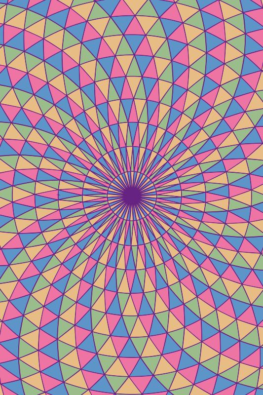 TenStickers. Triângulos 3d abstratos tapetes adolescentes para quartos. Tapete de vinil teen com desenho abstrato com fotos cheias de várias cores em espiral que vão preencher um ambiente alegre, colorido e original.