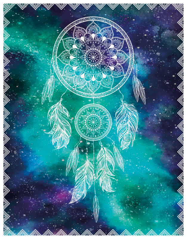 TenStickers. Dreamcatcher teenage rugs for bedrooms. Teen vinyl rug with the design of a dreamcatcher in white color with a background with universe illustration perfect for you to decorate your home.