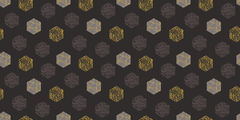 TenVinilo. Alfombra vinilo geométrica hexágonos pantone. Alfombra vinilo geométrica elegante y de lujo con hexágonos gris pantone y dorado para tu salón o cuarto. Elige medidas ¡Fácil de mantener!