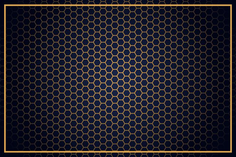 TenVinilo. Alfombra vinilo geométrica hexágonos dorados. Alfombra vinilo geométrica con hexágonos dorados y azules con un toque minimalista y elegante para el suelo de tu casa ¡Envío exprés!