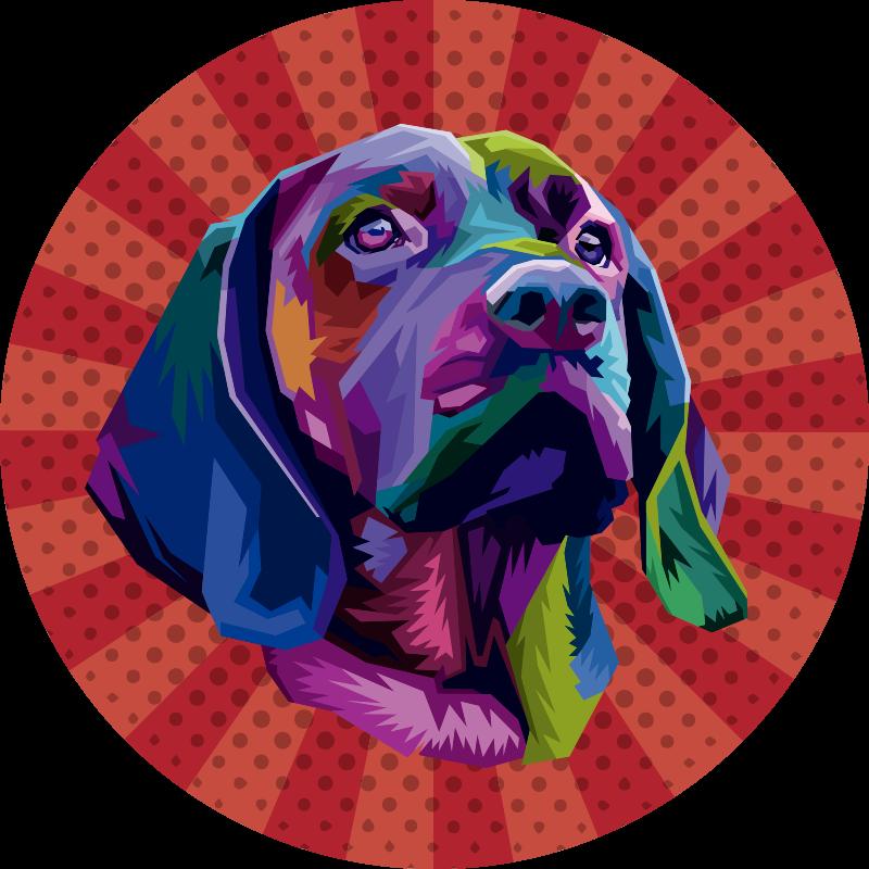 TenStickers. 狗波普艺术动物垫. 几何彩虹色的流行狗的这种原始的圆尖端现代地毯主机设计非常坐在红色带纹理的背景上。