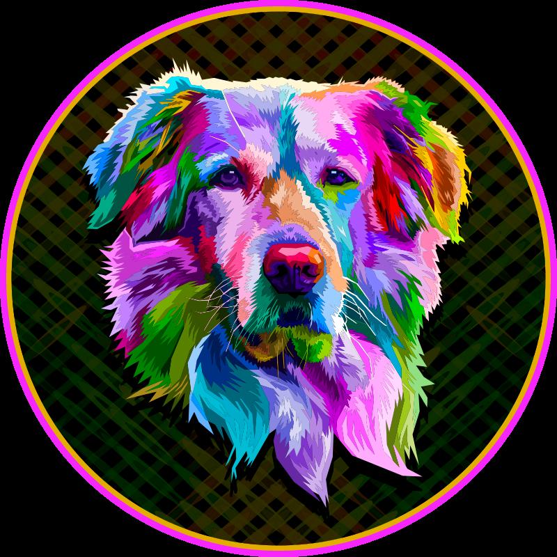 TenVinilo. Aflombra vinilo Golden Retriever arte moderno. Alfombra vinilo animales de perro de color arcoíris realista para hacer decorar tu casa de forma original ¡Descuentos disponibles!