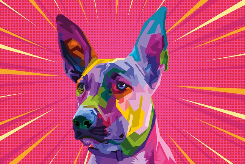 TenVinilo. Aflombra vinilo animal perro arte urbano. alfombra vinilo animales con diseño de perro de arcoíris para renovar el aspecto de tu lugar. Dise moderno artístico ¡Envío exprés!