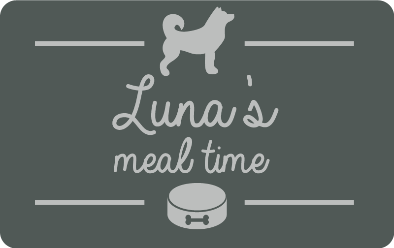 """TenStickers. Meal time animal vinyl rug. This adorable animal vinyl rug with a small dog and a customable text that says """"Luna's meal time"""" with your pet's name, will keep your kitchen clean!"""