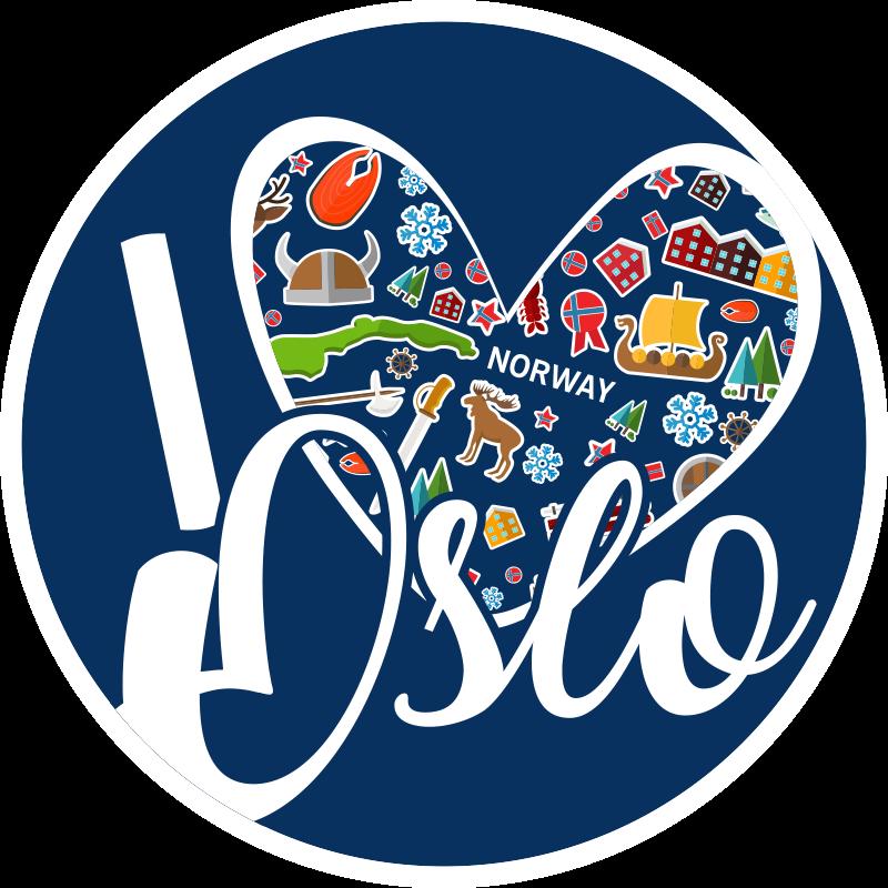 """TenVinilo. Alfombra vinilo nórdica I love Oslo folclore. Alfombra vinilo nórdica con el texto """"I love Oslo"""" con elementos típicos del folclore de Noruega. Elige tus medidas ¡Envío exprés a domicilio!"""