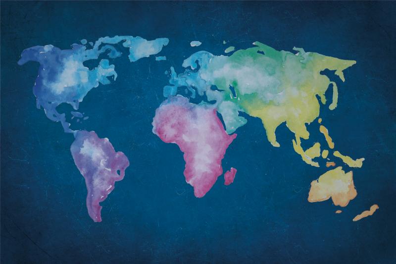 TenStickers. Tapete de mapa de vinil de fundo azul colorido artístico. Tapete de vinil de mapa-múndi com a ilustração de um mapa-múndi desenhado de forma artística com fundo azul perfeito para você usar em qualquer espaço que desejar