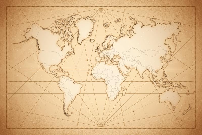 TenStickers. Tapete de mapa de vinil do século 19. Tapete de vinil para mapa-múndi que apresenta uma imagem incrível de um mapa-múndi do século 19 colorido em marrom e branco. Escolha o seu tamanho.