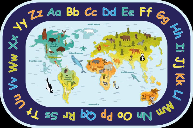 TenStickers. Para crianças com tapete de mapa de vinil alfabeto. Tapete de vinil perfeito para quartos de crianças que pode ser um espaço inclinado para eles. O tapete é desenhado com alfabetos, animais e mapas continentais.