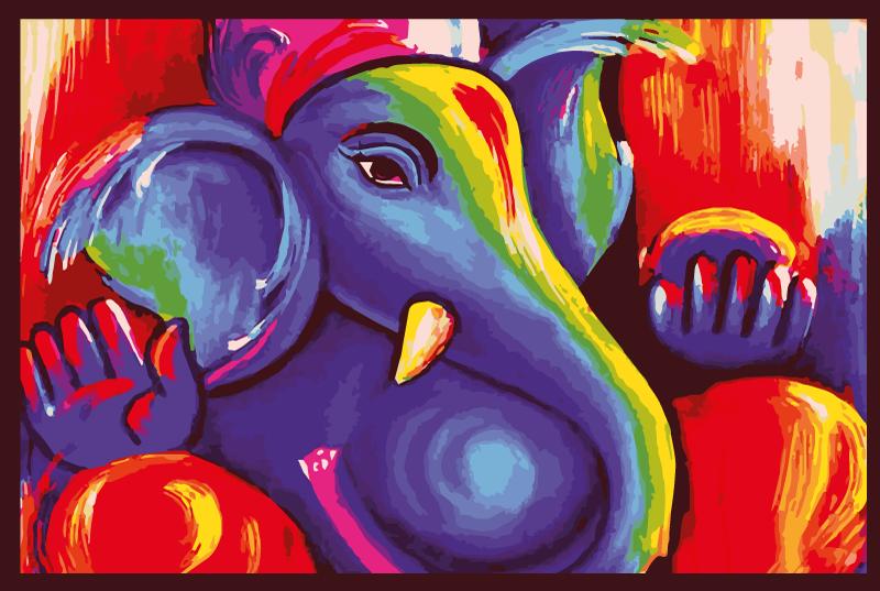 TenStickers. Tapete vinil para gabinete Elefante de arte moderna colorido. Este incrível produtomoderno de tapete de vinil é a compra perfeita que temos certeza de que você vai adorar! Entrega em domicílio para este belo design!