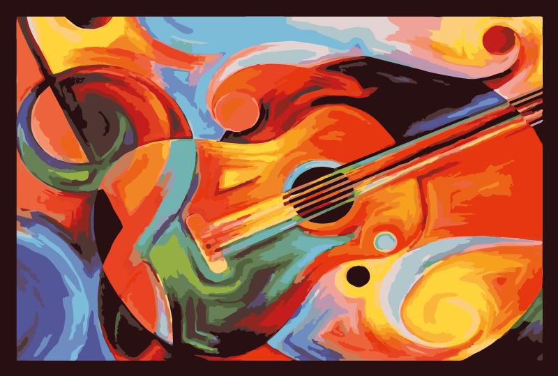 TenStickers. 现代艺术多彩吉他乙烯基地毯. 这种特殊的设计受到音乐家的启发,并生动地展现了吉他的艺术外观,并融化成不同的暖色。送货上门!