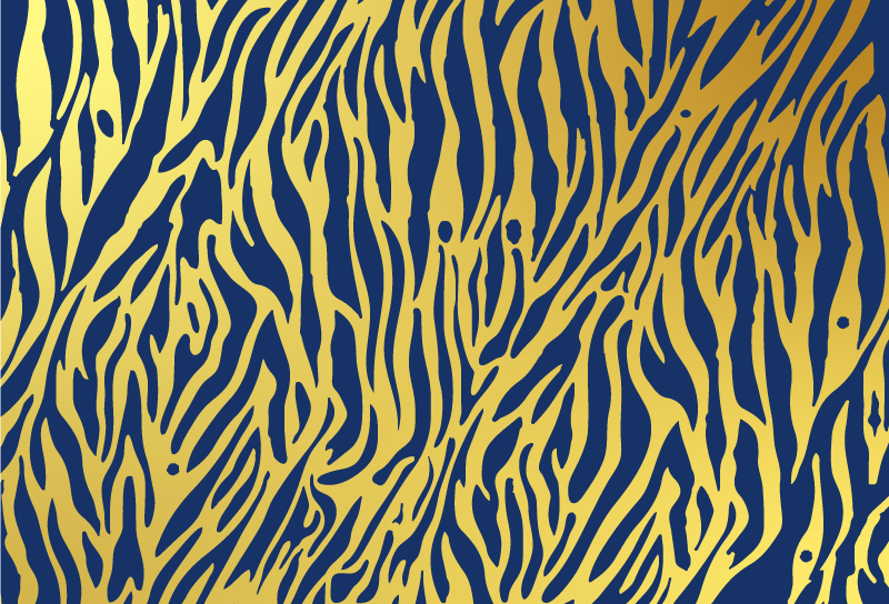 TenVinilo. Alfombra vinilo animal print cebra dorada. Alfombra vinilo animal print de cebra dorada y azul para decorar y cambiar la apariencia de cualquier estancia ¡Envío exprés!