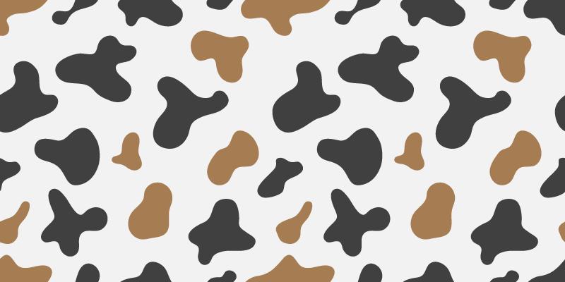 TenStickers. 牛斑动物印花乙烯基地毯. 这款美丽的动物乙烯基地毯的灵感来自奶牛的图案,白色背景,到处都是黑褐色斑点。可送货上门!