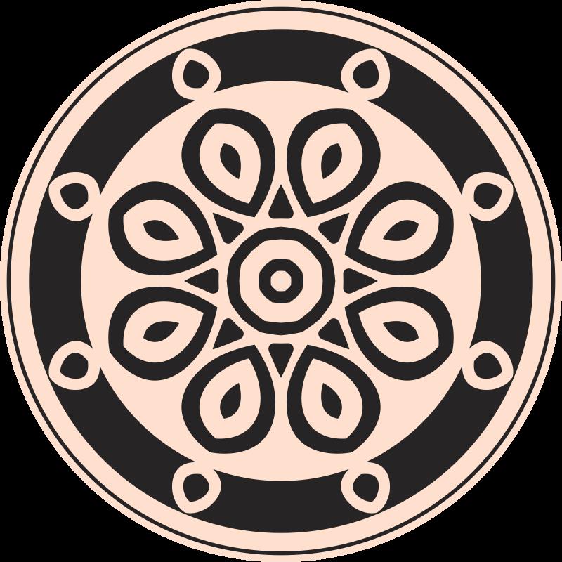 TenStickers. Okrągły dywan do sypialni o minimalistycznych kształtach. Okrągły dywanik winylowy do sypialni o minimalistycznych kształtach, który doda elegancji każdej przestrzeni. Jego projekt składa się z mandali!