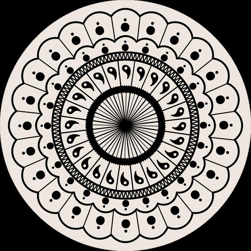 TenStickers. Tapete circular boho mandala quarto. Tapete circular boho mandala - tapete muito elegante para decorar espaços comuns. Isso pode ser colocado na sala de estar, escritório, etc.
