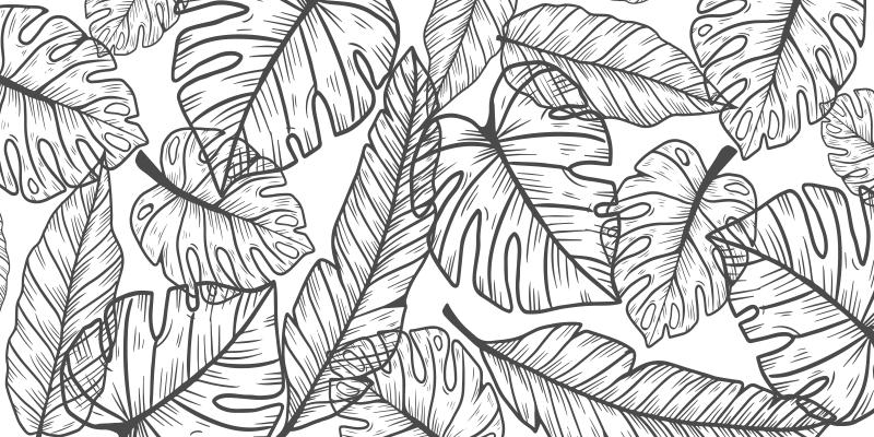 TenStickers. 大假花卧室乙烯基地毯. 这种花卉和乙烯基地毯基于白色背景,上面满是大片叶子。非常适合植物爱好者。送货上门!