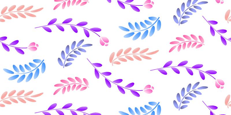 TenVinilo. Alfombra vinilo dormitorio Pequeñas hojas de colores. Alfombra decorativa dormitorio de flores en un fondo blanco con tallos de colores violeta, azul, amarillo y rosa. Disponible para entrega a domicilio!