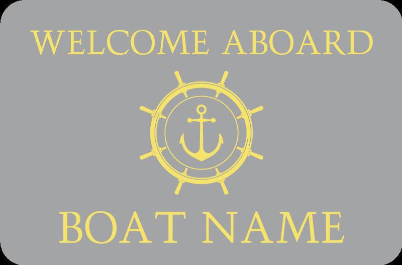 TenVinilo. Alfombra vinilo con nombre bienvenido a bordo. Alfombra vinilo con nombre diseñada con un ancla náutica y una ilustración del icono de la brújula con texto de bienvenida a bordo ¡Envío exprés!