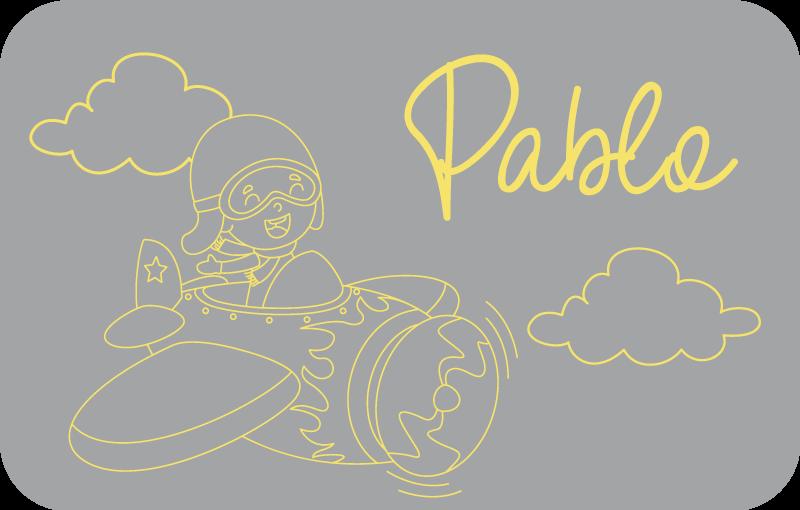 TenVinilo. Alfombra vinilo con nombre avión pantone. Alfombra vinilo infantil con nombre personalizable de color gris pantone para que decores el cuarto de tus hijos ¡Descuentos disponibles!