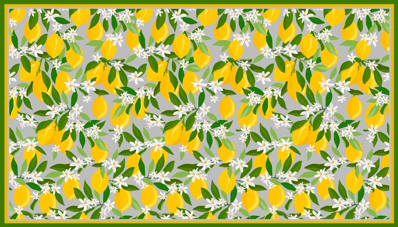 TenVinilo. Alfombra vinilo cocina limonero con flores. Alfombra vinilo cocina está llena de limones amarillos con hojas verdes y florecitas blancas sobre un fondo verde pastel ¡Envío exprés!