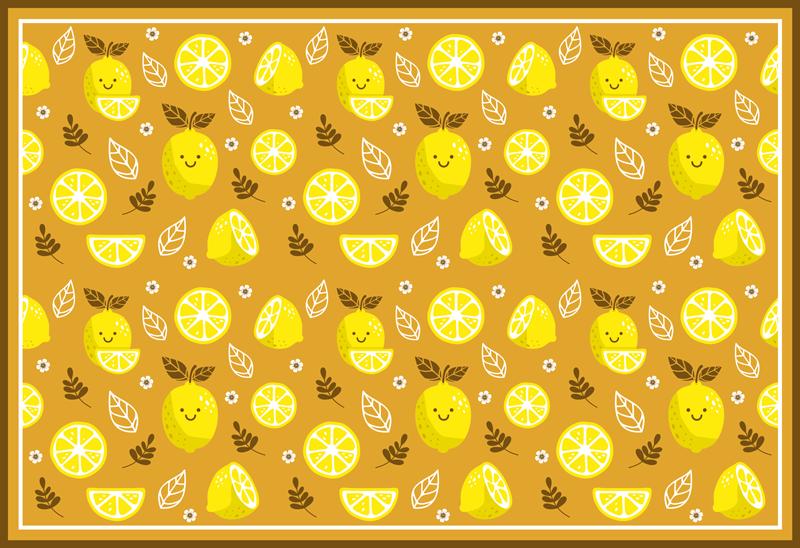 TenVinilo. Alfombra vinilo cocina de limones sonrientes. Esta alfombra vinilo cocina está llena de limones sonrientes algunos enteros y otros cortados en color amarillo sobre un fondo amarillo más oscuro.