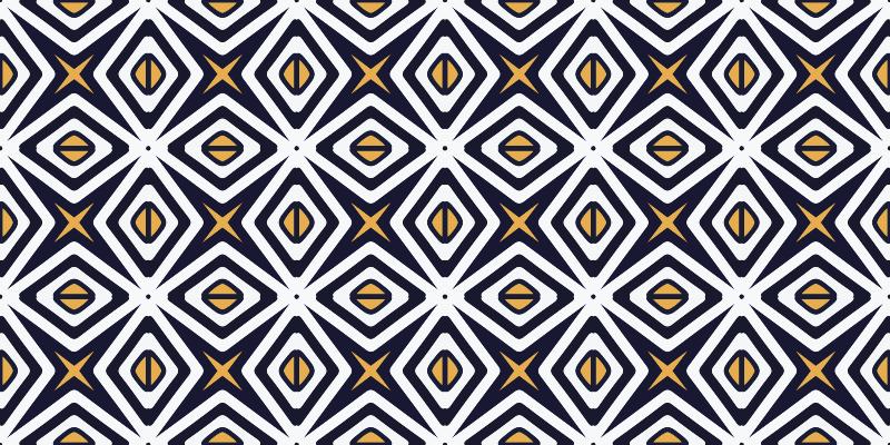 TenVinilo. Alfombra vinilo hidráulica altair. Esta alfombra vinilo hidráulica con formas cuadrangulares negras, estrellas y rombos de color amarillo ¡Descuentos disponibles!