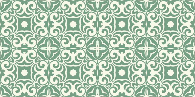 TenVinilo. Alfombras vinilo hidráulica tonos esmeralda. Alfombra vinilo hidráulica con efecto azulejo se basa en un fondo blanco cremoso con formas de mandala en verde claro por todas partes ¡Envío exprés!