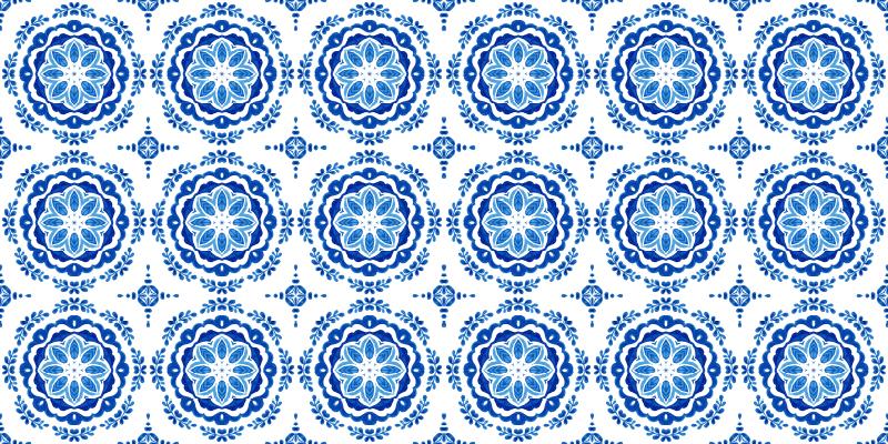 TenVinilo. Alfombras vinilo azulejos circulares azules. Esta alfombra vinilo azulejos tiene formas geométricas italianas tradicionales por todas partes en diferentes tonos de azul ¡Envío exprés!