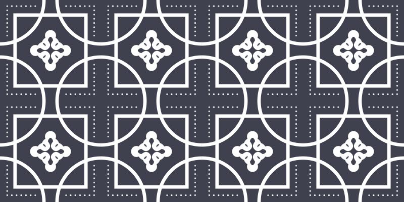 TenVinilo. Alfombras vinilo mosaico formas geométricas. ¡Alfombra vinilo mosaico con formas negras sobre un fondo blanco está hecha con materiales antideslizantes! ¡Descuentos disponibles!